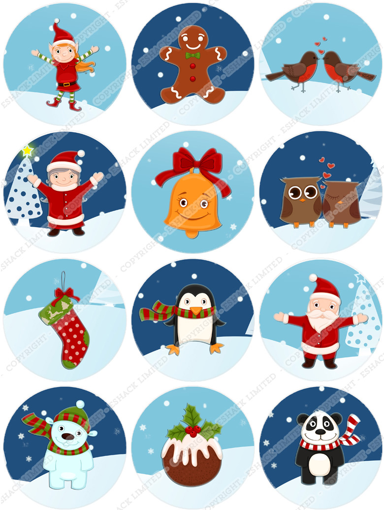 Edible Cake Pictures Uk : Cakeshop 12xChristmas Edible Cake Toppers eBay
